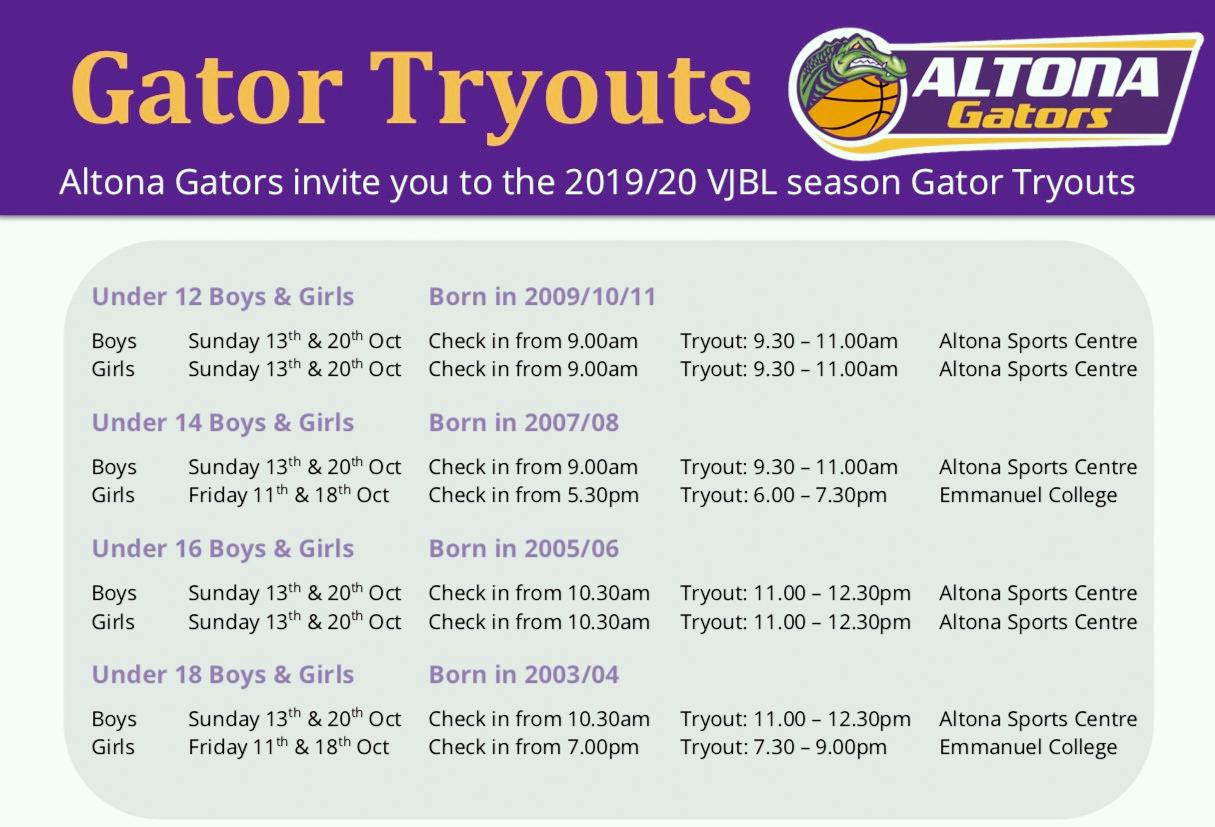 2019-20 Gators Tryouts